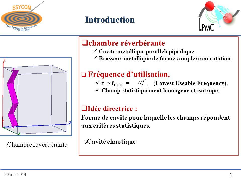 Introduction 20 mai 2014 3 Chambre réverbérante chambre réverbérante Cavité métallique parallélépipédique. Brasseur métallique de forme complexe en ro