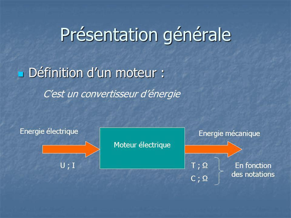 Présentation générale Définition dun moteur : Définition dun moteur : Cest un convertisseur dénergie Moteur électrique En fonction des notations T ; Ω C ; Energie électrique U ; I Energie mécanique