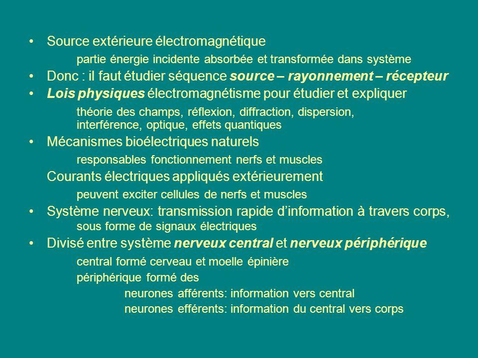 Système efférent divisé entre somatique et autonome Autonome : formé de neurones conduisent impulsions vers tissus musculaires (cœur), glandes en général considéré comme non conscient divisé sympathique et parasympathique contrôlent effets opposés dans organes variés en général considérés comme antagonistes sympathique tend à mobiliser en cas durgence exemple : sécrétion dadrénaline parasympathique concerné par fonctions végétatives exemple : digestion Niveaux de stimulation des nerfs généralement de beaucoup inférieurs à ceux nécessités par stimulation directe du muscle