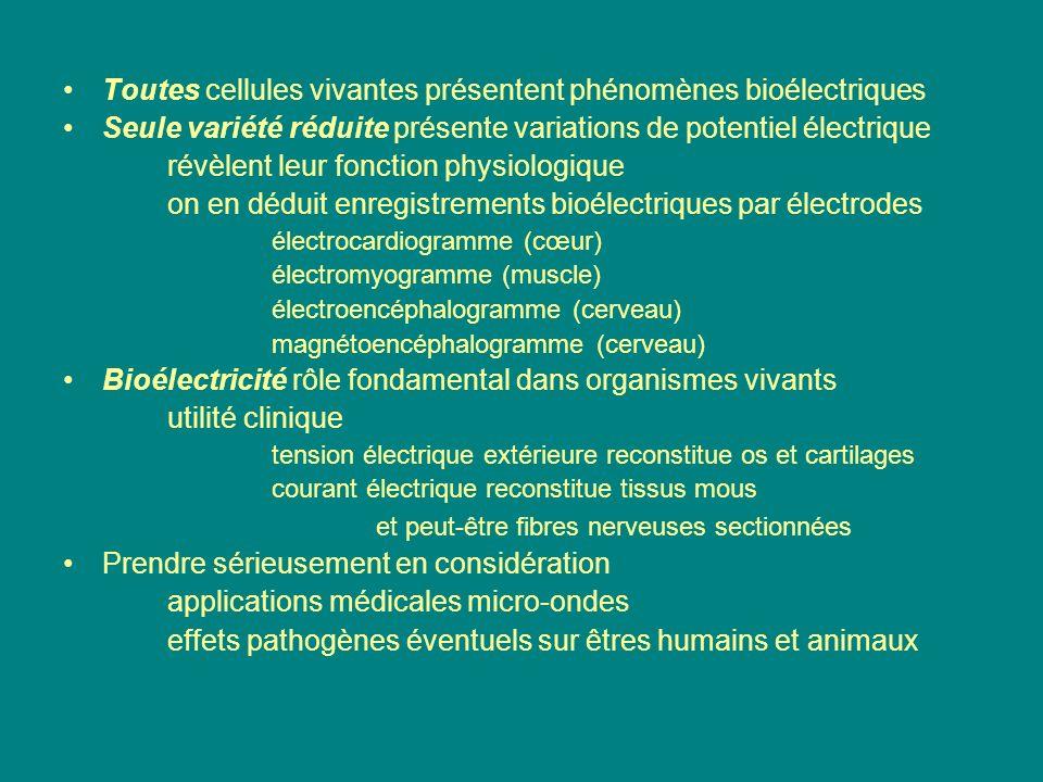 Toutes cellules vivantes présentent phénomènes bioélectriques Seule variété réduite présente variations de potentiel électrique révèlent leur fonction
