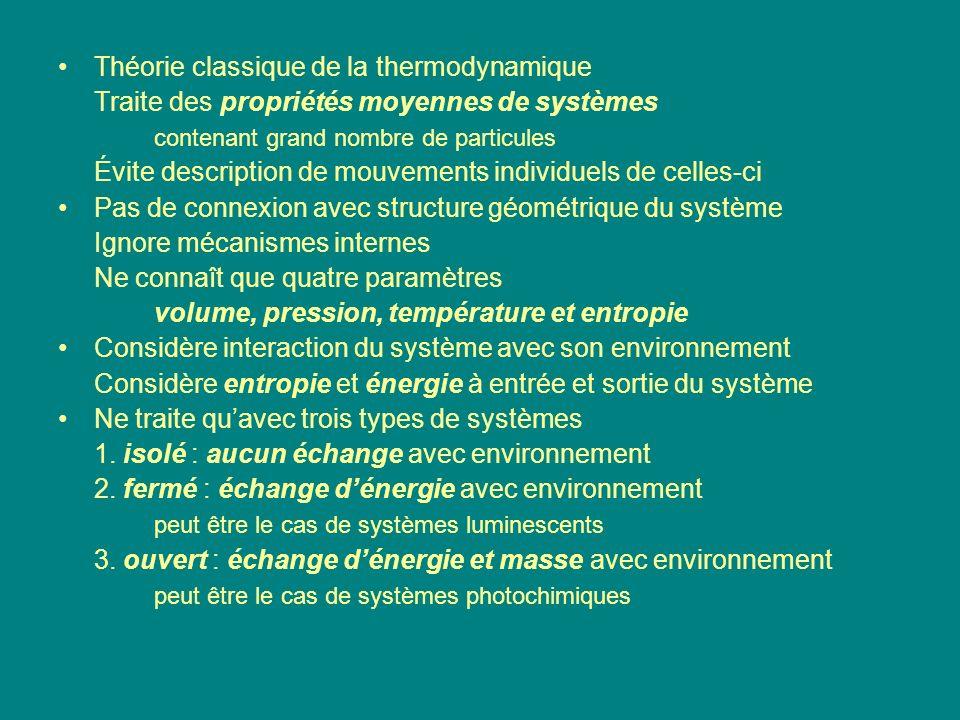 Théorie classique de la thermodynamique Traite des propriétés moyennes de systèmes contenant grand nombre de particules Évite description de mouvement