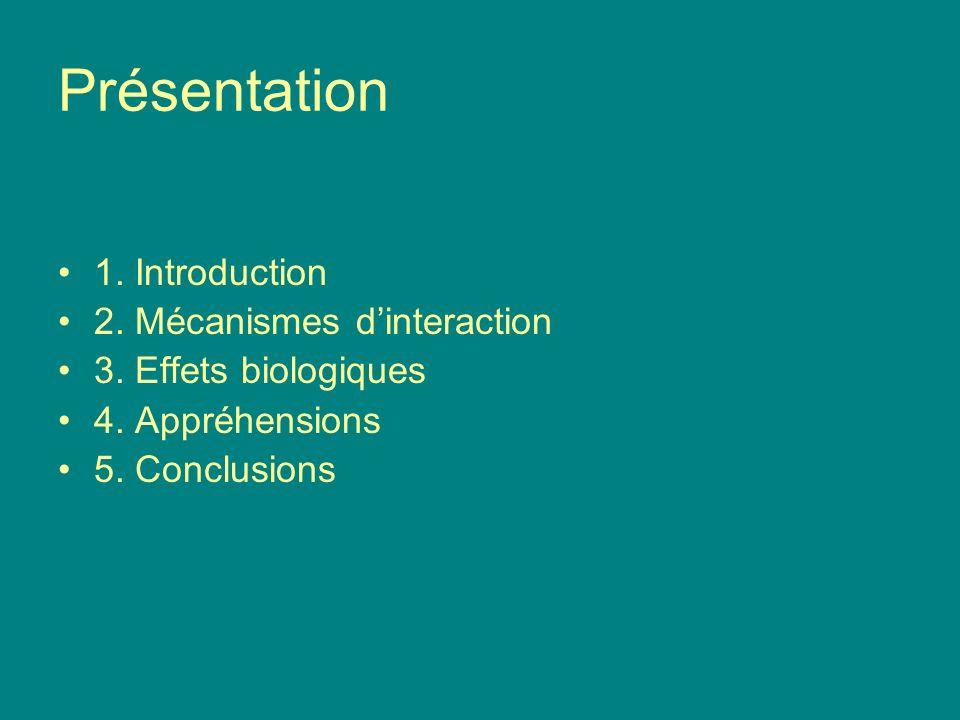 Présentation 1. Introduction 2. Mécanismes dinteraction 3. Effets biologiques 4. Appréhensions 5. Conclusions