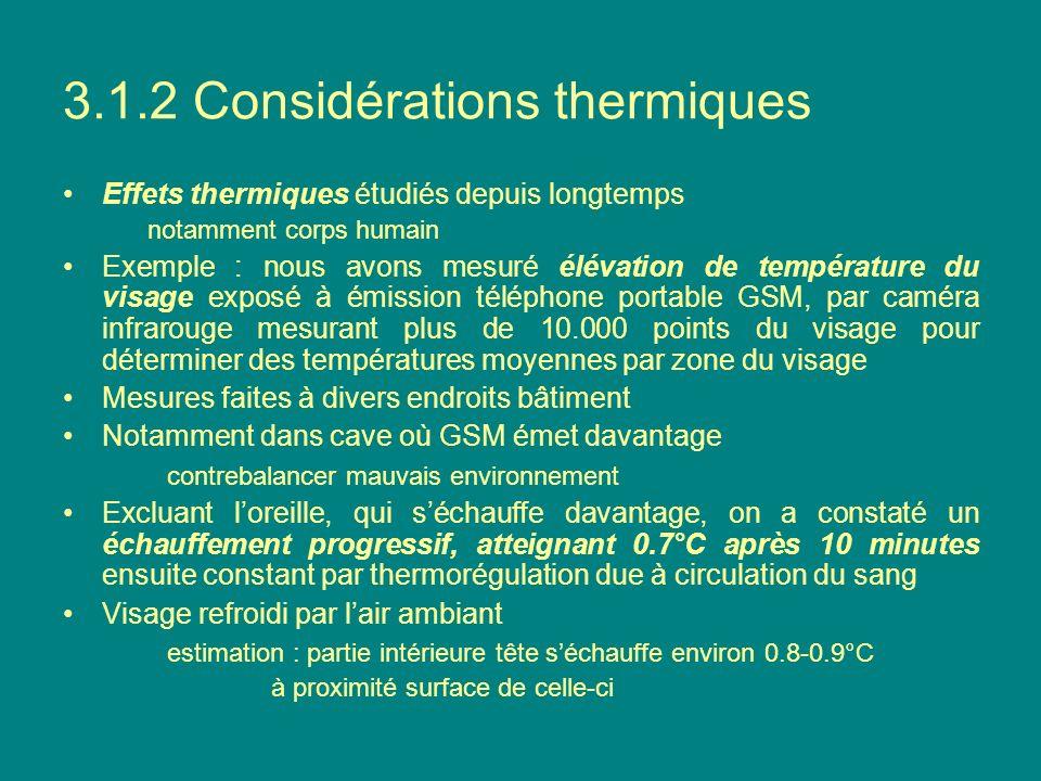3.1.2 Considérations thermiques Effets thermiques étudiés depuis longtemps notamment corps humain Exemple : nous avons mesuré élévation de température