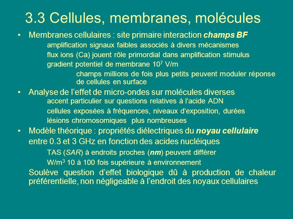Membranes cellulaires : site primaire interaction champs BF amplification signaux faibles associés à divers mécanismes flux ions (Ca) jouent rôle prim