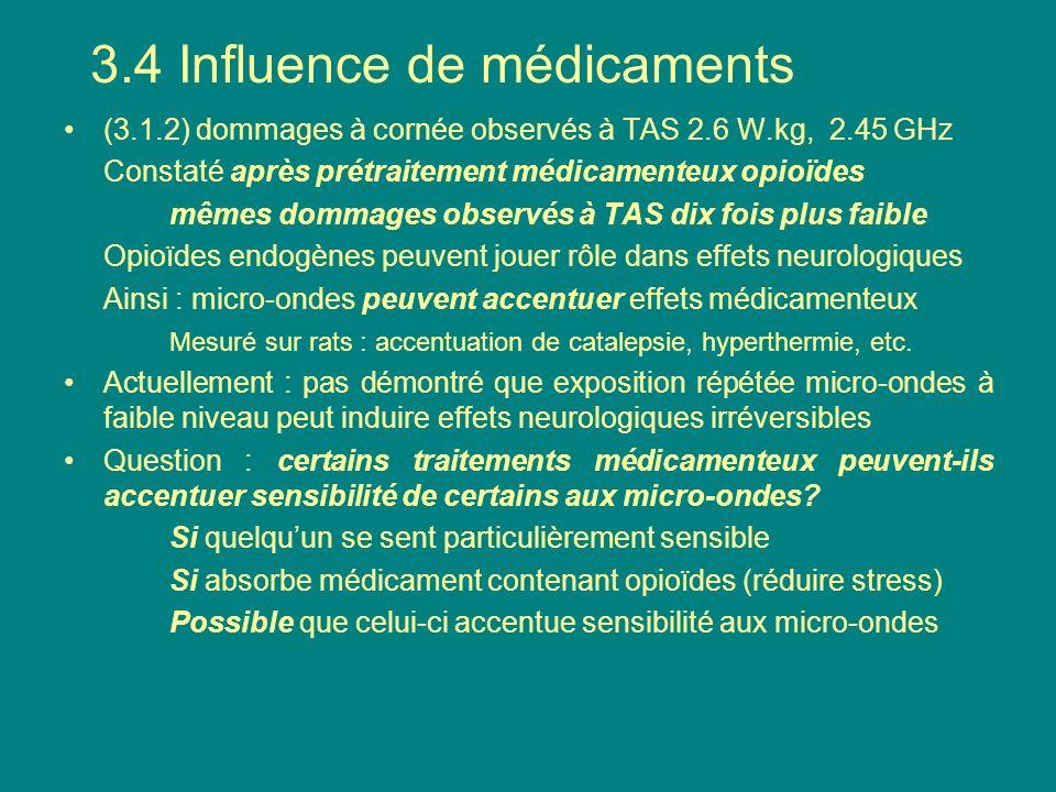 (3.1.2) dommages à cornée observés à TAS 2.6 W.kg, 2.45 GHz Constaté après prétraitement médicamenteux opioïdes mêmes dommages observés à TAS dix fois