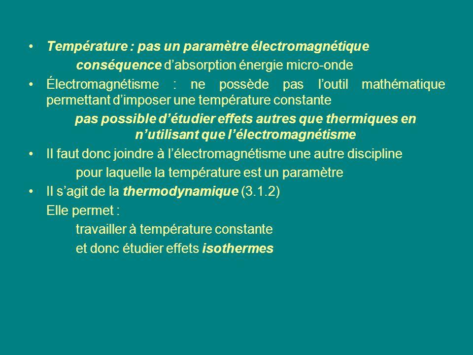 Température : pas un paramètre électromagnétique conséquence dabsorption énergie micro-onde Électromagnétisme : ne possède pas loutil mathématique per