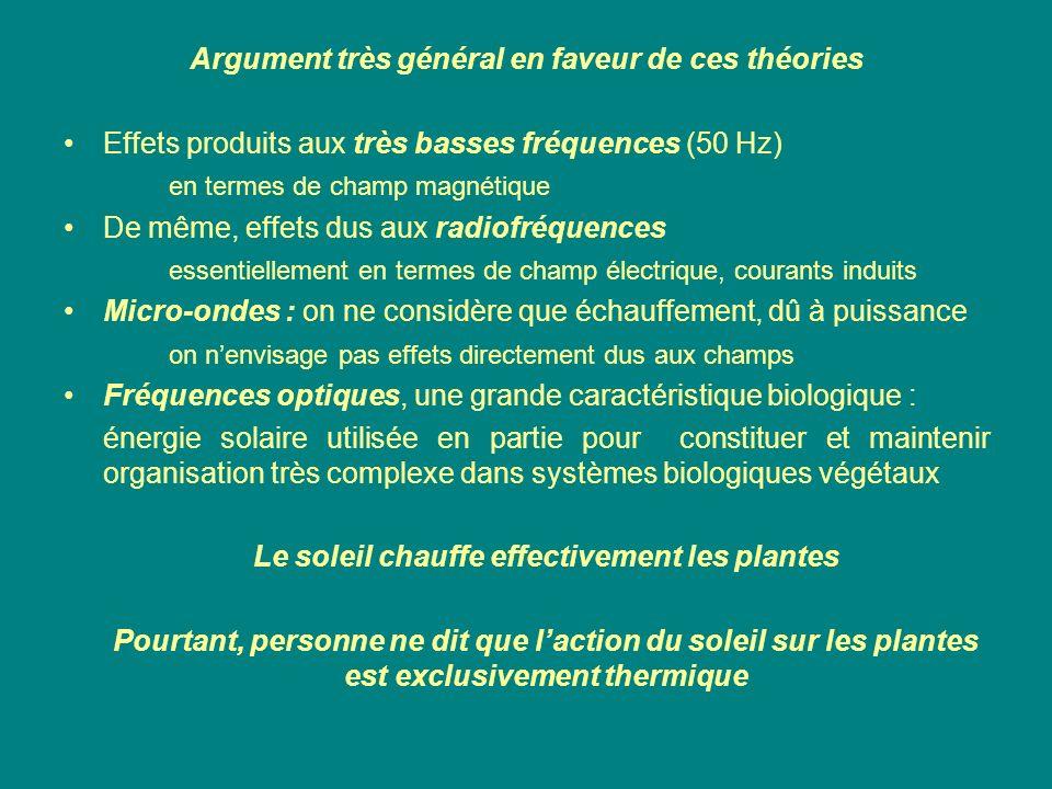 Argument très général en faveur de ces théories Effets produits aux très basses fréquences (50 Hz) en termes de champ magnétique De même, effets dus a