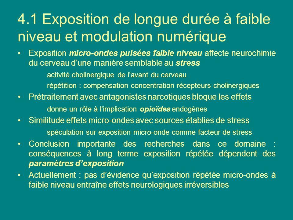 4.1 Exposition de longue durée à faible niveau et modulation numérique Exposition micro-ondes pulsées faible niveau affecte neurochimie du cerveau dun