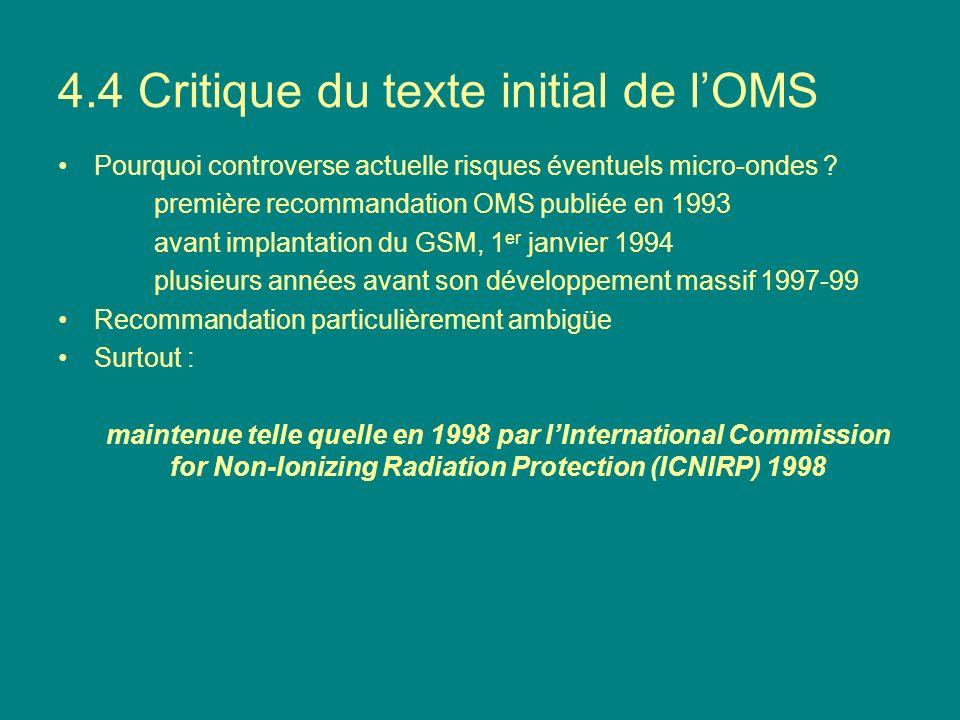 4.4 Critique du texte initial de lOMS Pourquoi controverse actuelle risques éventuels micro-ondes ? première recommandation OMS publiée en 1993 avant