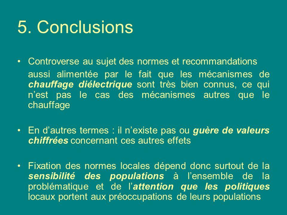 Tableau de normes et recommandations Grande variété, valeurs pour le grand public, exprimées en V/m à 900 MHz (1) OMS, ICNIRP et Union européenne ne pas dépasser 41.2 V/m (2) Plusieurs gouvernements européens normes plus exigeantes Belgique : 20.6 V/m Italie : 20 V/m, et 6 V/m pour exposition > 4 heures Suisse : 6 ou 4 V/m Luxembourg : 3 V/m (3) Effets sur barrière sang-cerveau (BBB) effets positifs dans 50% des études (sur rats) certains effets positifs observés à 0.016 W/kg, soit 18 V/m