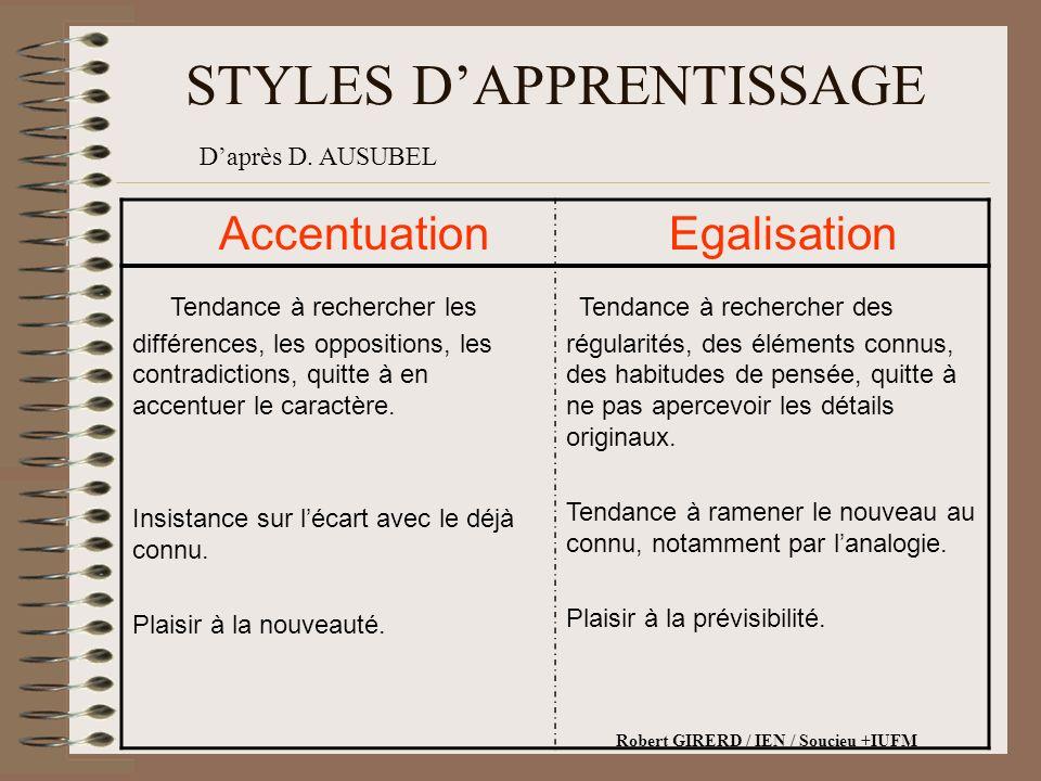 STYLES DAPPRENTISSAGE Accentuation Egalisation Tendance à rechercher les différences, les oppositions, les contradictions, quitte à en accentuer le caractère.