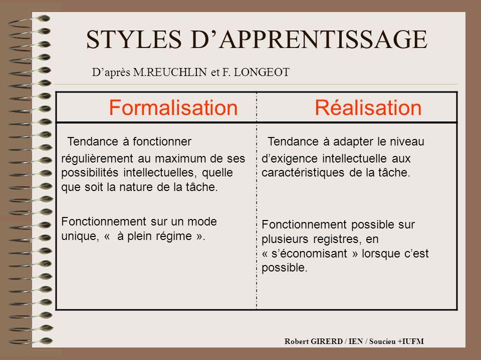STYLES DAPPRENTISSAGE Formalisation Réalisation Tendance à fonctionner régulièrement au maximum de ses possibilités intellectuelles, quelle que soit la nature de la tâche.