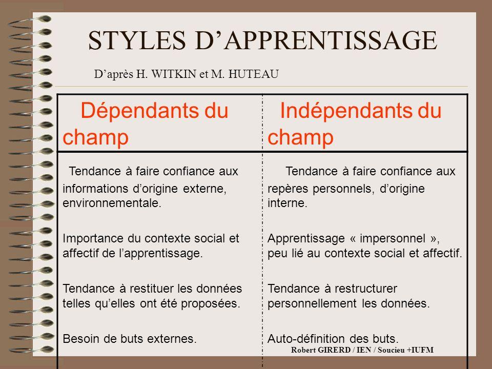 STYLES DAPPRENTISSAGE Dépendants du champ Indépendants du champ Tendance à faire confiance aux informations dorigine externe, environnementale.