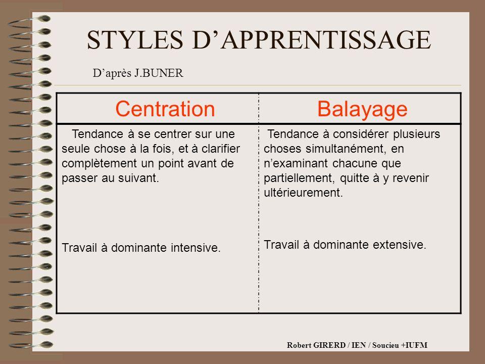 STYLES DAPPRENTISSAGE Centration Balayage Tendance à se centrer sur une seule chose à la fois, et à clarifier complètement un point avant de passer au suivant.