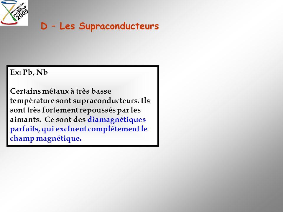 D – Les Supraconducteurs Ex: Pb, Nb Certains métaux à très basse température sont supraconducteurs. Ils sont très fortement repoussés par les aimants.