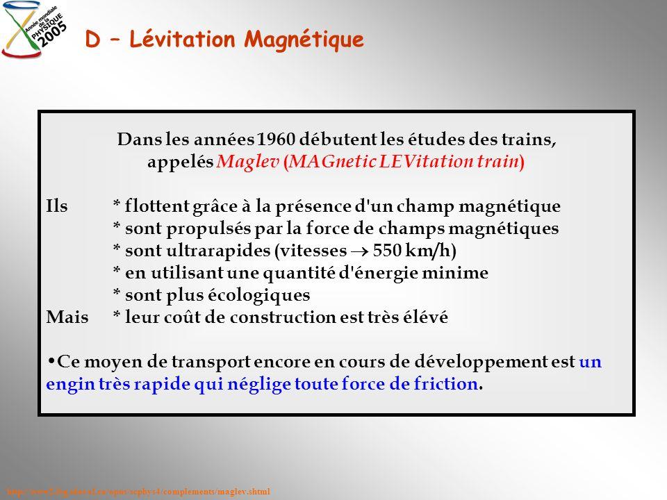 D – Lévitation Magnétique Dans les années 1960 débutent les études des trains, appelés Maglev ( MAGnetic LEVitation train ) Ils* flottent grâce à la p