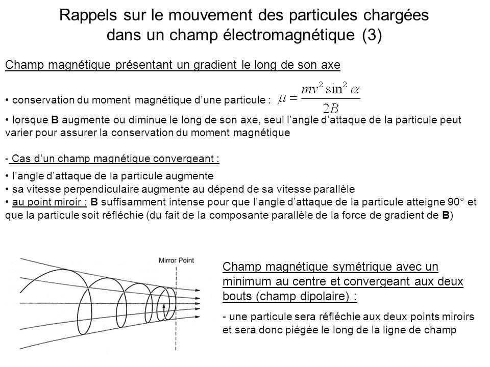 un mouvement hélicoïdal autour du champ B un mouvement de réflexion entre les deux points miroirs dune ligne de champ (gradient de B entre léquateur et les pieds de la ligne) un mouvement de dérive autour de la Terre (gradient de B en séloignant de la Terre et courbure de B), opposé pour les électrons (Est) et les ions (Ouest) En résumé : les particules subissent dans un champ magnétique dipolaire (cas de la Terre)