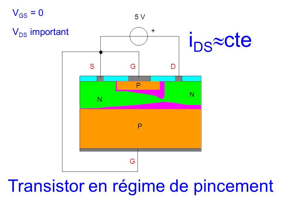 SGD G + P N N V GS = 0 V DS important P 5 V Transistor en régime de pincement i DS cte