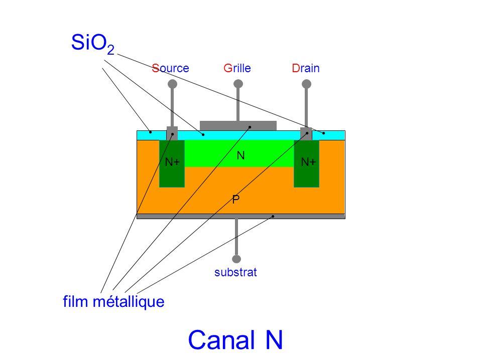 SourceGrilleDrain substrat N P N+ SiO 2 film métallique Canal N