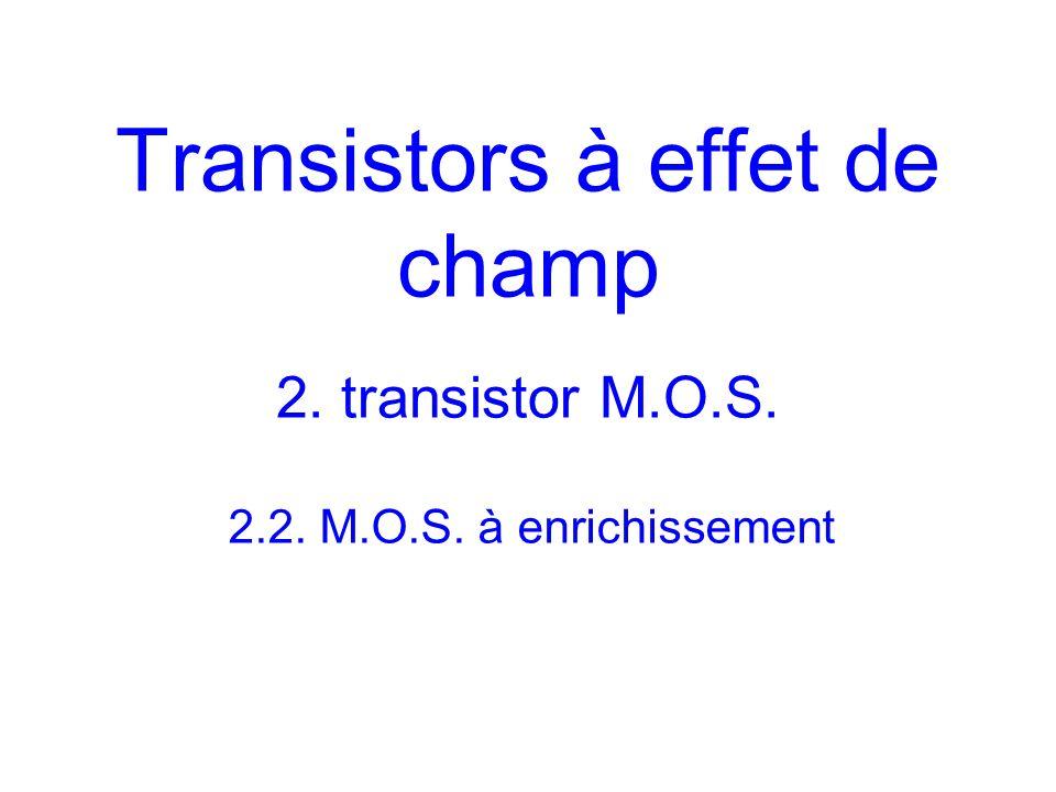 Transistors à effet de champ 2. transistor M.O.S. 2.2. M.O.S. à enrichissement