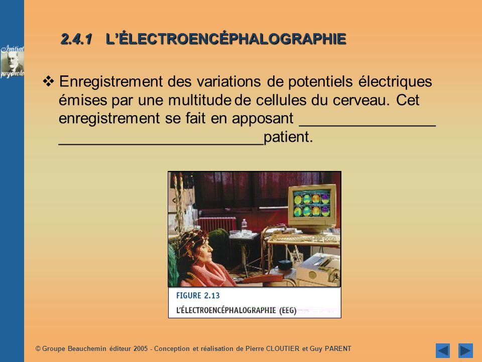 © Groupe Beauchemin éditeur 2005 - Conception et réalisation de Pierre CLOUTIER et Guy PARENT 2.4.1 LÉLECTROENCÉPHALOGRAPHIE Enregistrement des variations de potentiels électriques émises par une multitude de cellules du cerveau.