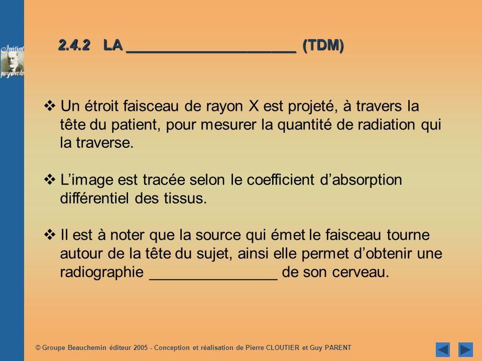 © Groupe Beauchemin éditeur 2005 - Conception et réalisation de Pierre CLOUTIER et Guy PARENT Un étroit faisceau de rayon X est projeté, à travers la tête du patient, pour mesurer la quantité de radiation qui la traverse.