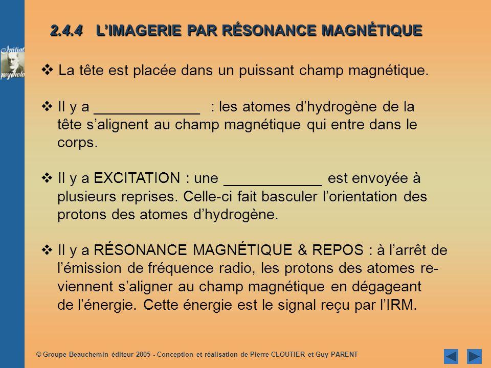 © Groupe Beauchemin éditeur 2005 - Conception et réalisation de Pierre CLOUTIER et Guy PARENT La tête est placée dans un puissant champ magnétique.