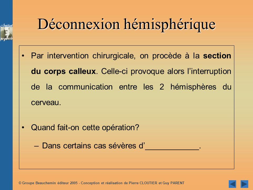 © Groupe Beauchemin éditeur 2005 - Conception et réalisation de Pierre CLOUTIER et Guy PARENT Déconnexion hémisphérique Par intervention chirurgicale, on procède à la section du corps calleux.