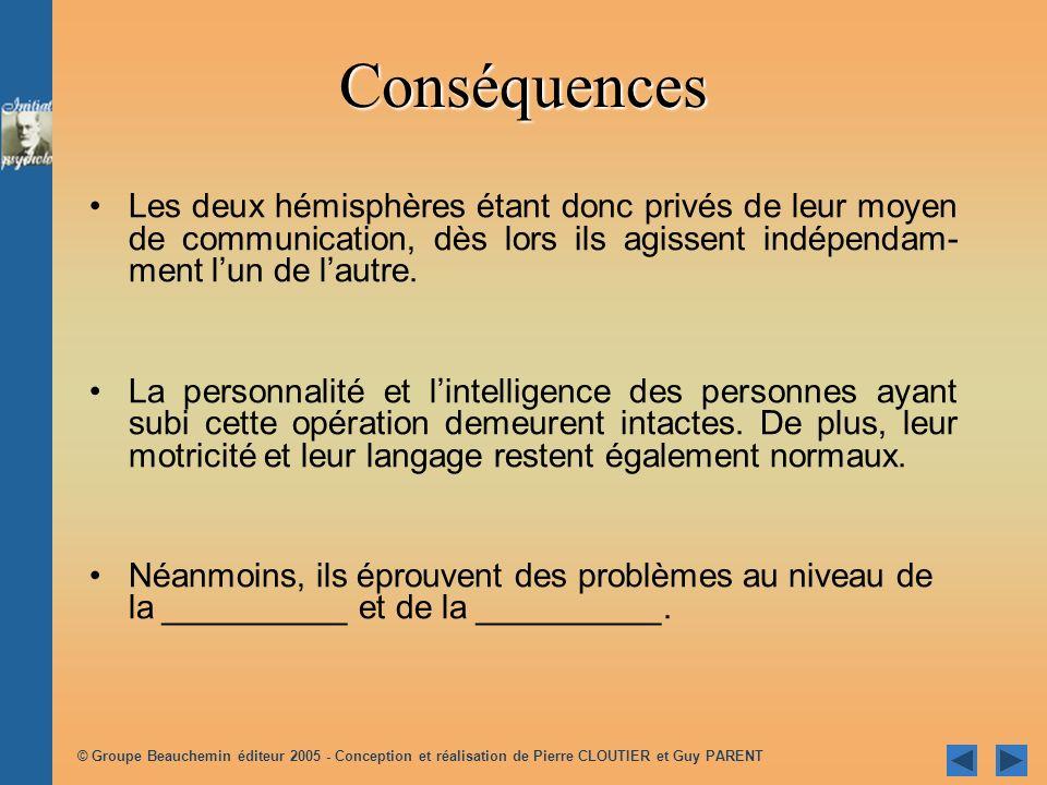 © Groupe Beauchemin éditeur 2005 - Conception et réalisation de Pierre CLOUTIER et Guy PARENT Comment une personne au cerveau dédoublé interprète-t-elle linformation visuelle .