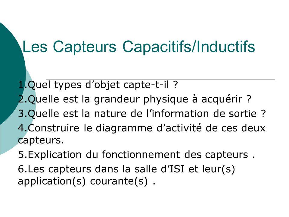 Les Capteurs Capacitifs/Inductifs 1.Quel types dobjet capte-t-il ? 2.Quelle est la grandeur physique à acquérir ? 3.Quelle est la nature de linformati