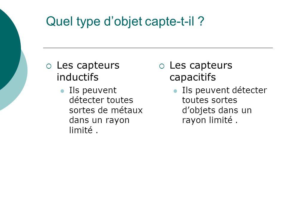 Quel type dobjet capte-t-il ? Les capteurs inductifs Ils peuvent détecter toutes sortes de métaux dans un rayon limité. Les capteurs capacitifs Ils pe