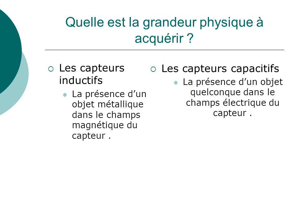Quelle est la grandeur physique à acquérir ? Les capteurs inductifs La présence dun objet métallique dans le champs magnétique du capteur. Les capteur