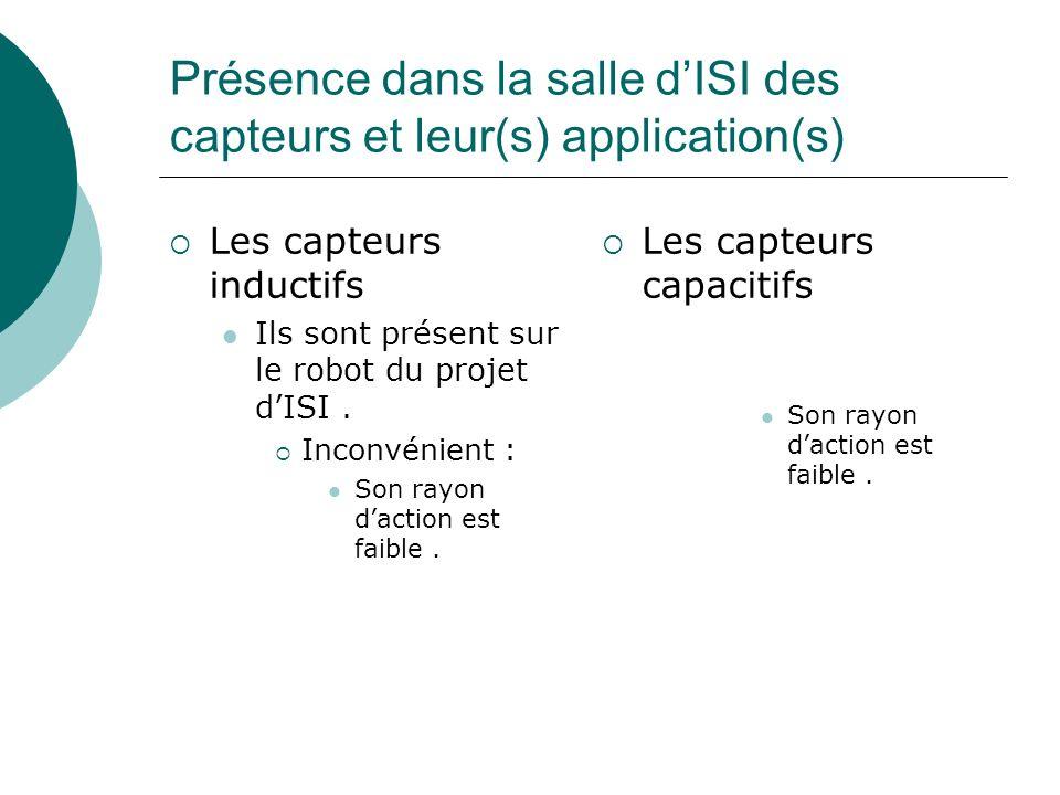 Présence dans la salle dISI des capteurs et leur(s) application(s) Les capteurs inductifs Ils sont présent sur le robot du projet dISI. Inconvénient :