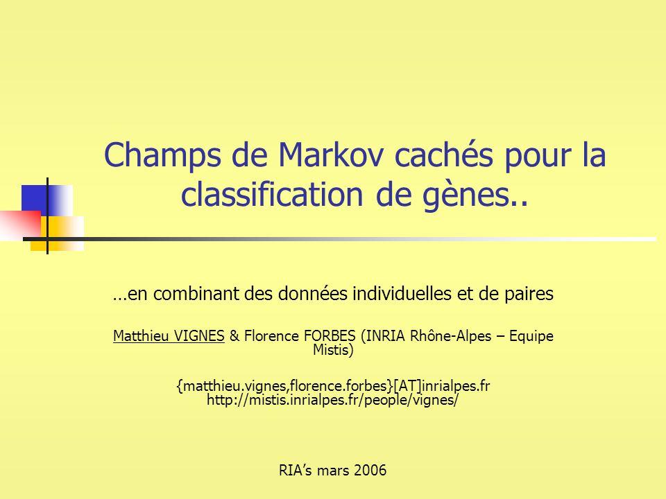 Champs de Markov cachés pour la classification de gènes.. …en combinant des données individuelles et de paires Matthieu VIGNES & Florence FORBES (INRI