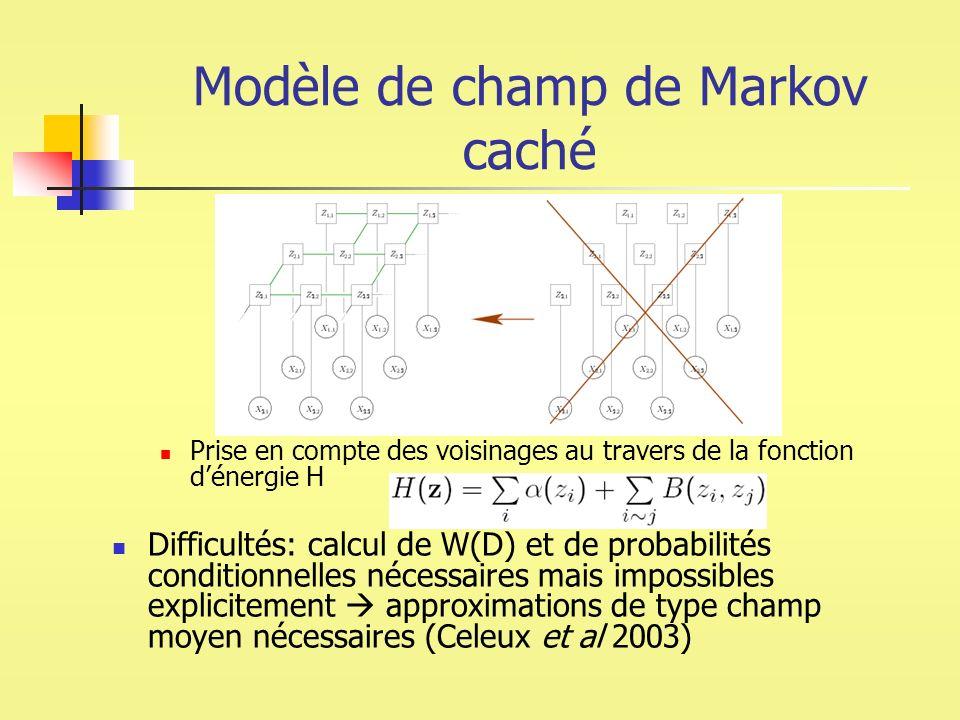 Modèle de champ de Markov caché Prise en compte des voisinages au travers de la fonction dénergie H Difficultés: calcul de W(D) et de probabilités con