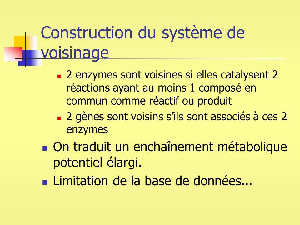 Construction du système de voisinage 2 enzymes sont voisines si elles catalysent 2 réactions ayant au moins 1 composé en commun comme réactif ou produ