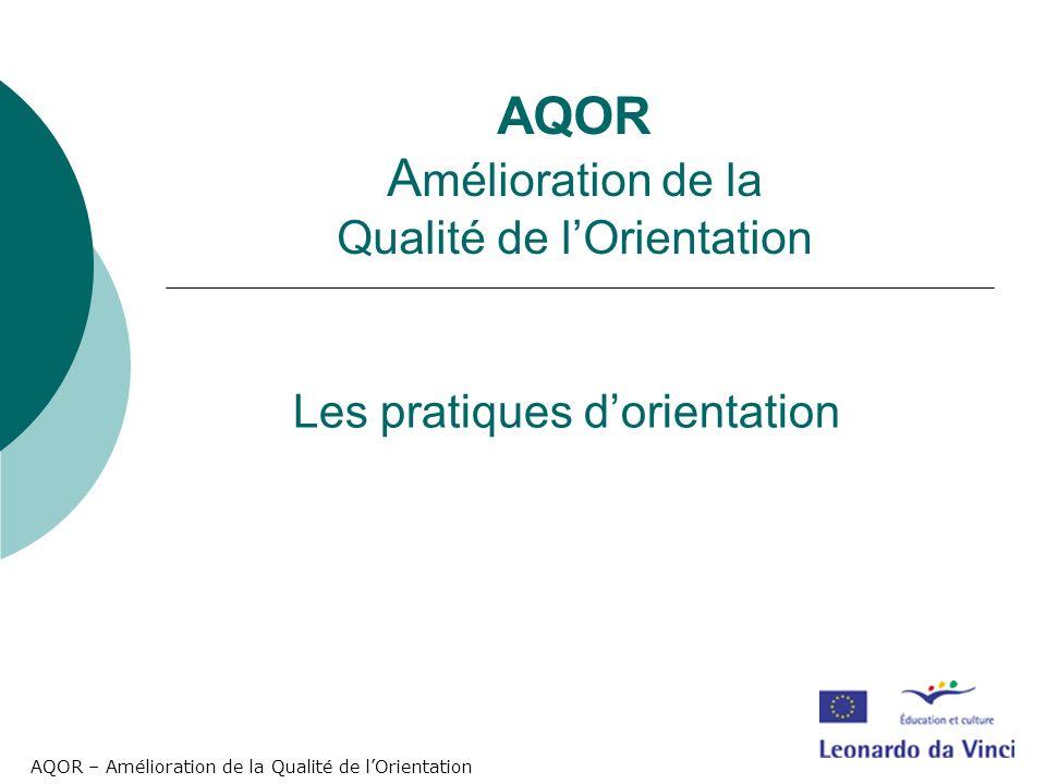 AQOR – Amélioration de la Qualité de lOrientation Les pratiques dorientation AQOR A mélioration de la Qualité de lOrientation