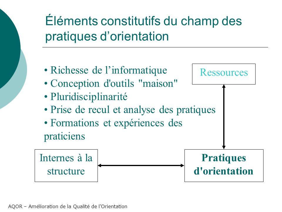 AQOR – Amélioration de la Qualité de lOrientation Éléments constitutifs du champ des pratiques dorientation Pratiques d'orientation Ressources Interne