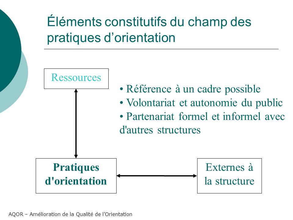 AQOR – Amélioration de la Qualité de lOrientation Éléments constitutifs du champ des pratiques dorientation Pratiques d'orientation Ressources Externe