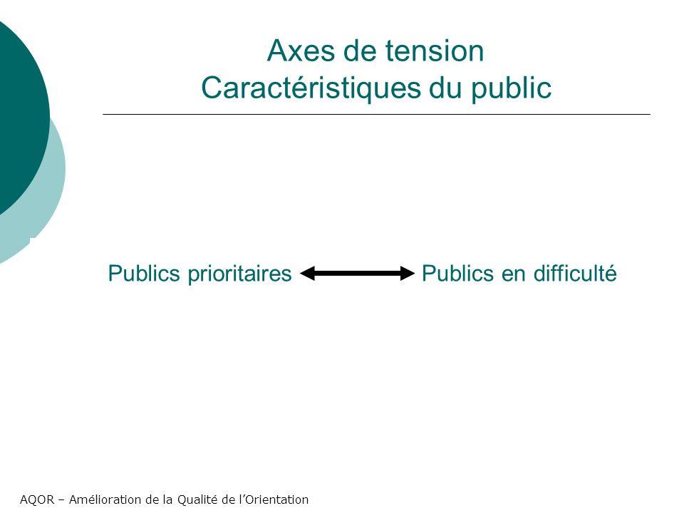 AQOR – Amélioration de la Qualité de lOrientation Axes de tension Caractéristiques du public Publics prioritairesPublics en difficulté
