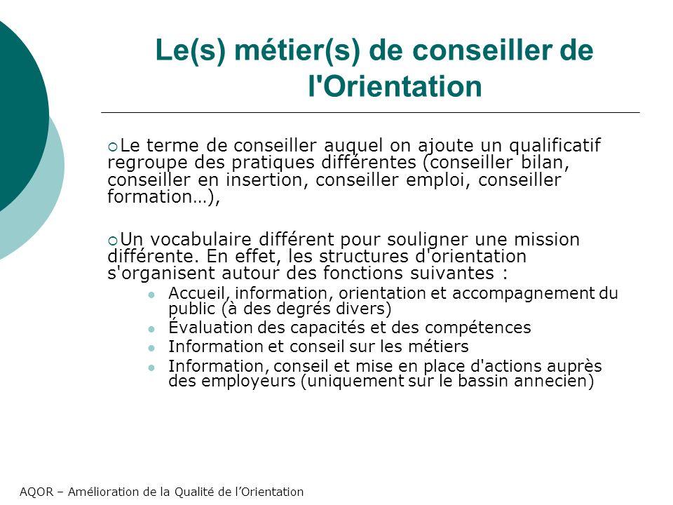 AQOR – Amélioration de la Qualité de lOrientation Le(s) métier(s) de conseiller de l'Orientation Le terme de conseiller auquel on ajoute un qualificat