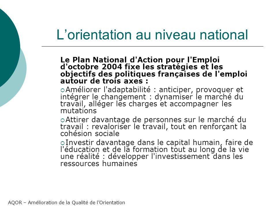 AQOR – Amélioration de la Qualité de lOrientation Lorientation au niveau national Le Plan National d'Action pour l'Emploi d'octobre 2004 fixe les stra
