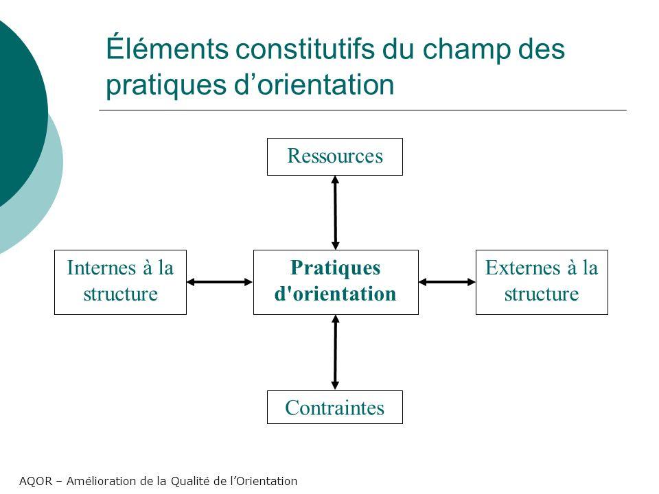AQOR – Amélioration de la Qualité de lOrientation Éléments constitutifs du champ des pratiques dorientation Pratiques d orientation Ressources Contraintes Internes à la structure Externes à la structure