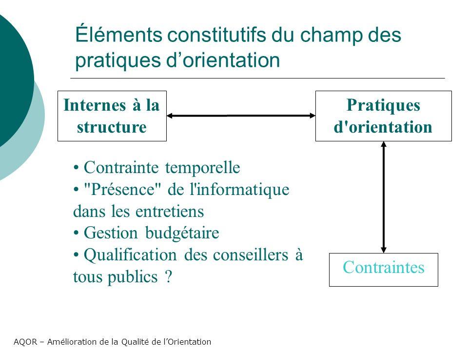 AQOR – Amélioration de la Qualité de lOrientation Éléments constitutifs du champ des pratiques dorientation Pratiques d'orientation Contraintes Intern