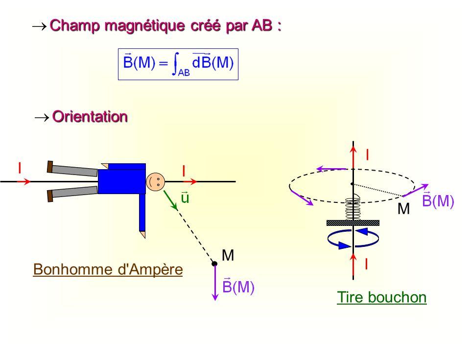 Champ magnétique créé par AB : Champ magnétique créé par AB : I I M Bonhomme d'Ampère M I I Tire bouchon Orientation Orientation