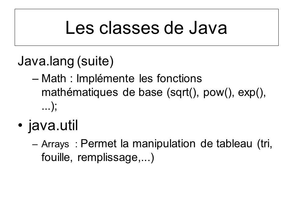 Java.lang (suite) –Math : Implémente les fonctions mathématiques de base (sqrt(), pow(), exp(),...); java.util –Arrays : Permet la manipulation de tab