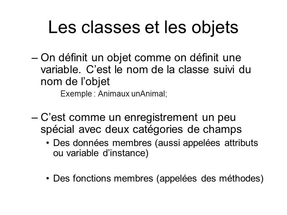Les classes et les objets –On définit un objet comme on définit une variable. Cest le nom de la classe suivi du nom de lobjet Exemple : Animaux unAnim