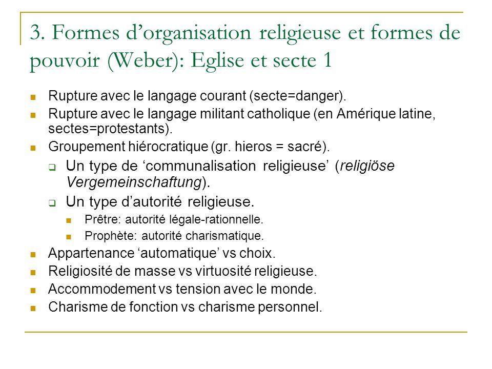 3. Formes dorganisation religieuse et formes de pouvoir (Weber): Eglise et secte 1 Rupture avec le langage courant (secte=danger). Rupture avec le lan