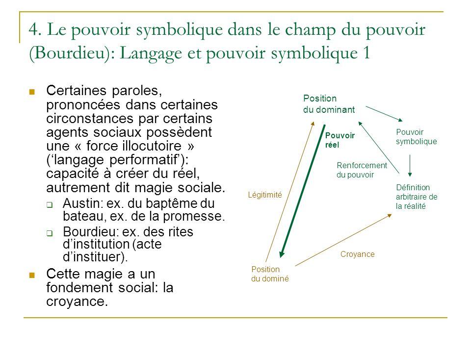 4. Le pouvoir symbolique dans le champ du pouvoir (Bourdieu): Langage et pouvoir symbolique 1 Certaines paroles, prononcées dans certaines circonstanc