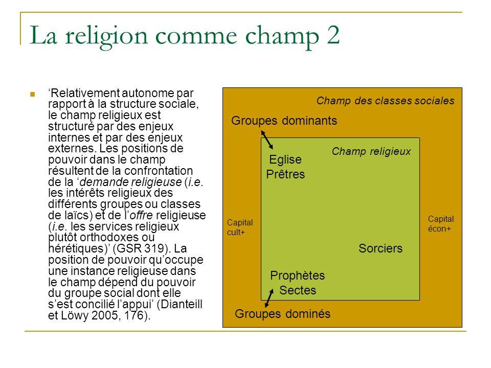 La religion comme champ 2 Relativement autonome par rapport à la structure sociale, le champ religieux est structuré par des enjeux internes et par de